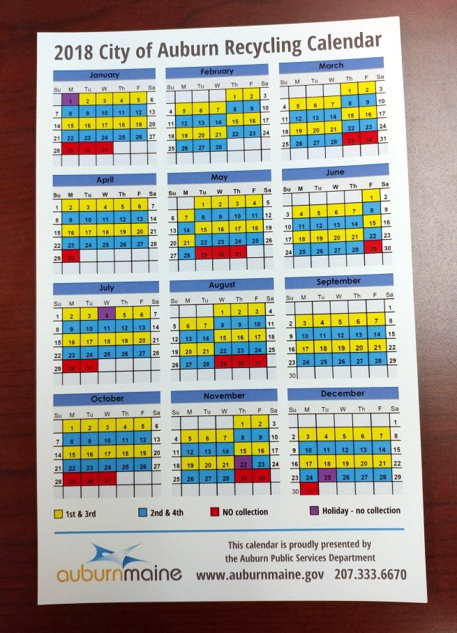 2018 Recycling Calendars Available!