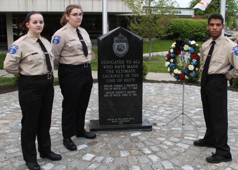 Cadets at Fallen Officer Memorial